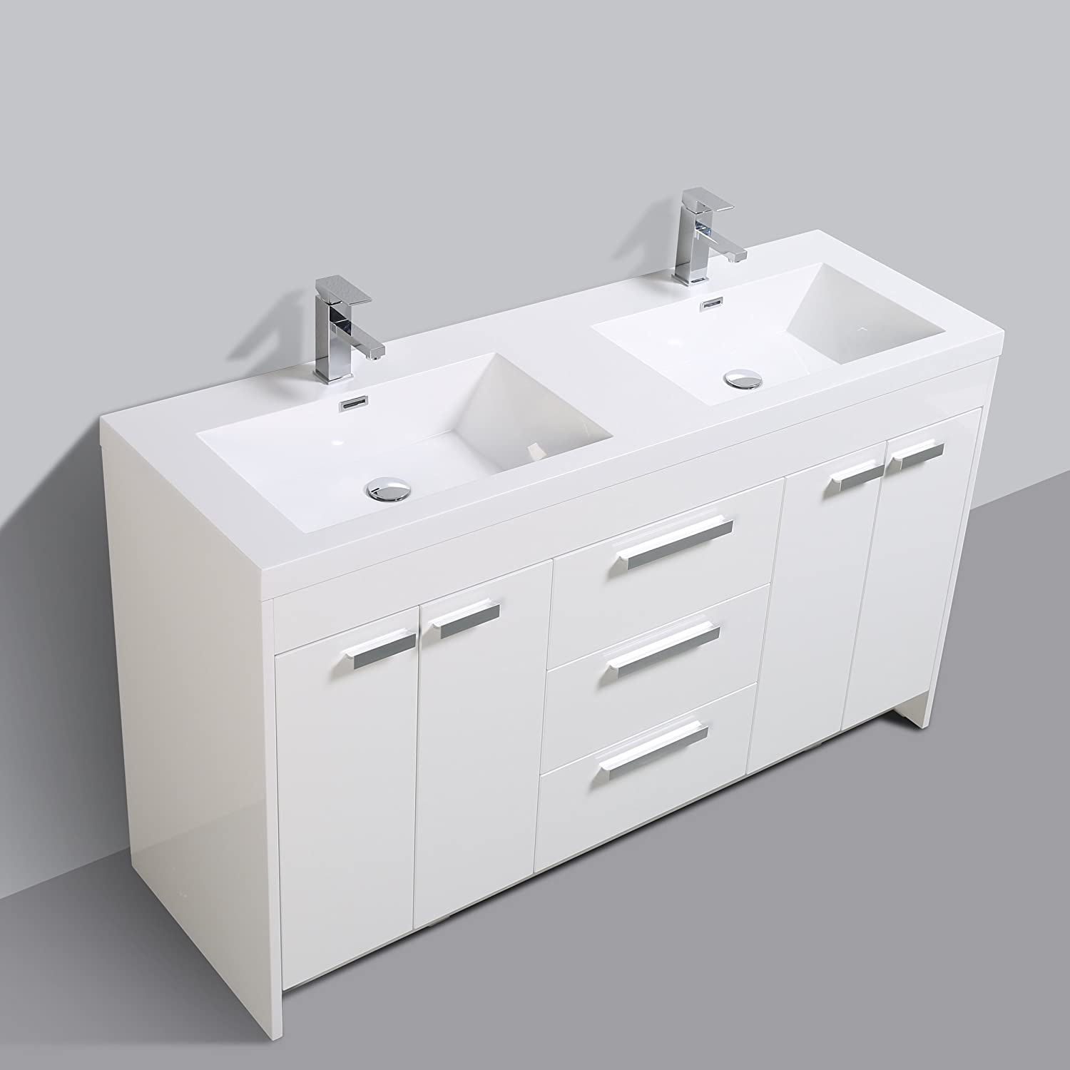 Buy Eviva Lugano 60 Inch White Modern Double Sink Integrated Acrylic Top Bathroom Vanities 60 Online In Indonesia B019a7vpb6
