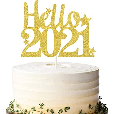 Happy New Year Cake Topper,Little Star Gold Glitter Hello 2021,Cheers to 2021 Cake Decor,New Years Eve Party Decorations