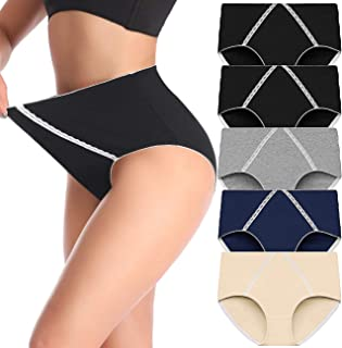 Comfy Women's High Waist Cotton Underwear Soft Brief Panties Decorated with Lace Regular and Plus Size