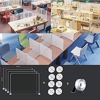 Shields for Student Desks,Desktop Sneeze Guard Shield,Desk dividers for Students,Plastic Partitions,Clear Desk Dividers fo...