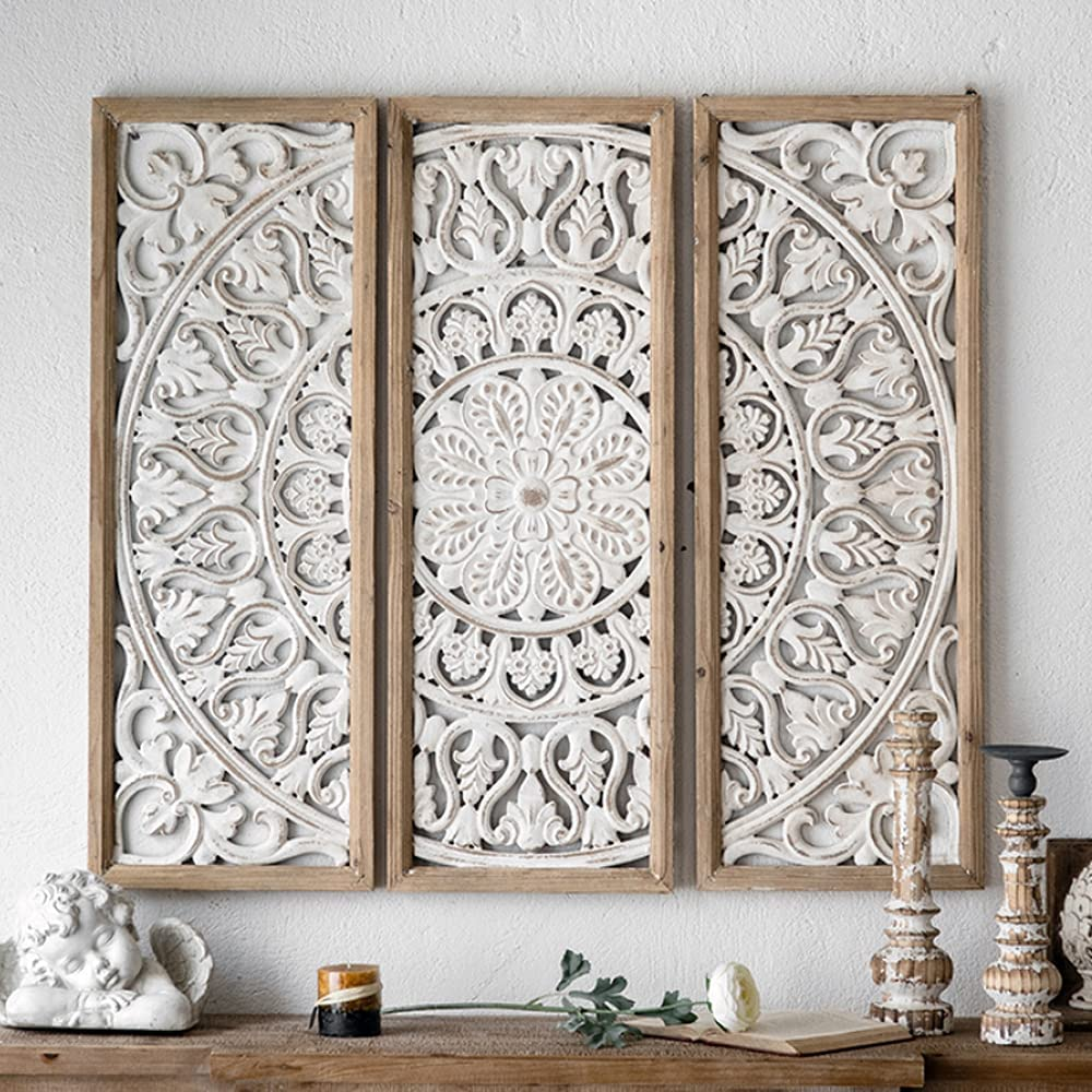CASOLLY Wood Carved Floral Wall Decor (Set of 3 )Panel Wood Wall Art,39