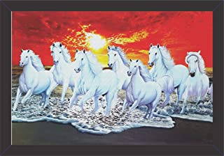 Mad Masters UV Textured Print Canvas 7 Running Horses Wall Hangings with Frame