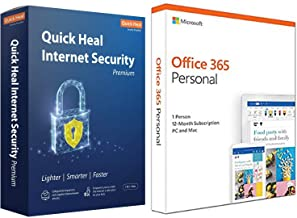 Quick Heal Internet Security Premium - 1 Users, 1 Years (DVD).&Microsoft Office 365 Personal for 1 user (Windows/Mac), 12 ...