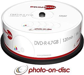 PRIMEON DVD-R 4.7GB/120Min/16x Cakebox (25 Disc), 2761205 ((25 Disc) Photo-on-disc Surface, Inkjet Fullsize Printable)