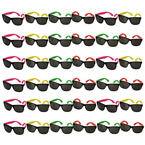 3c45db35afa Funny Party Hats Neon Sunglasses- 36 Pack - Bulk Sunglasses - Party Glasses  - Pool