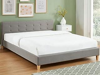 HOMIFAB Lit Adulte avec tête de lit capitonnée en Tissu Gris Clair - sommier à Lattes 160x200cm - Collection Milo