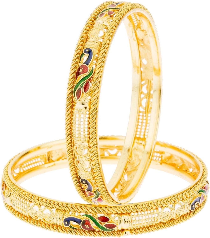 Efulgenz Indian Style Bollywood 14 K Gold Plated Enamel Peacock Wedding Bridal Bracelet Bangle Set Jewelry