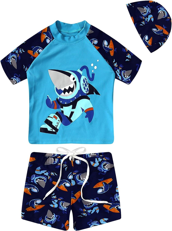 Runhomal Kids Boys Rash Guard Swimsuit Swimwear Beach Sports Bathing Suits 2PCS Swim Shirt Pant Sets