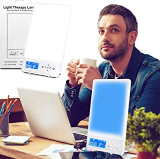 HyAdierTech Lámpara de Luz Diurna 10000 lux,Luz Solar Simulada,Brillo Ajustable,Compacto,Caja De Luz Portátil Lámpara De Energía Solar,Espectro Completo Libre De UV,Cri 92,Color Azul/Blanco