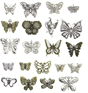 SUPVOX 21pcs Metal Charms Butterfly Shape DIY Accessories Necklace Pendants Jewelry Making Supplies for Party Favors (Mixed Colors)