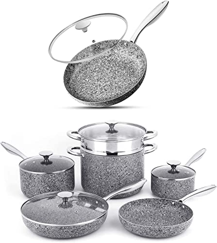 lowest MICHELANGELO Stone Cookware Set 10 Piece+12 Inch Frying Pan with Lid Ultra Nonstick popular Pots and Pans Set with Stone-Derived Coating, outlet online sale Stone Cookware Set Nonstick, Stone Pots and Pans Set outlet sale