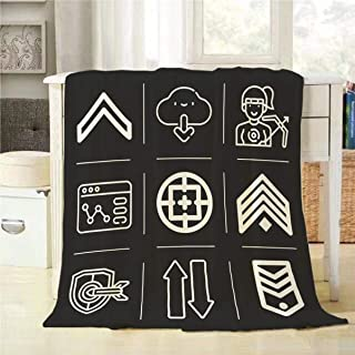 Mugod Info Graphics Throw Blanket Transfer Security Archery Download Browser Chevron Icon Set Decorative Soft Warm Cozy Flannel Plush Throws Blankets for Baby Toddler Dog Cat 30 X 40 Inch