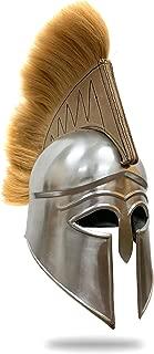 Medieval Greek Royal Helmet with Brown Horse Hair Plume, Chrome, 19