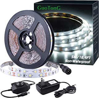 (16.4ft Non-waterproof Daylight White) - GuoTonG Dimmable LED Light Strip Kit with UL Listed Power Supply, 300 Units SMD 2...