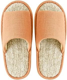 BBJOZ Home Slippers Indoor Slippers Open Toe Linen Cotton Drag Non-Slip Breathable Washable (Color : Orange, Size : 36-37)