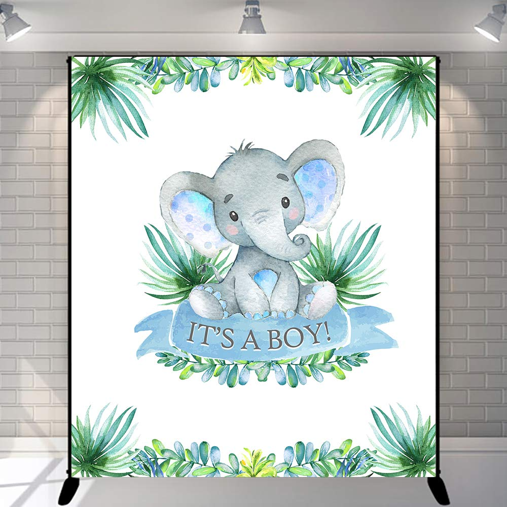YEELE Baby Shower Backdrop for Neutral 6.5x6.5ft Cute Grey Elephant Photography Background Baby Shower Party Banner Newborn Infant Baby Artistic Portrait Photo Booth Props Vinyl Studio Wallpaper