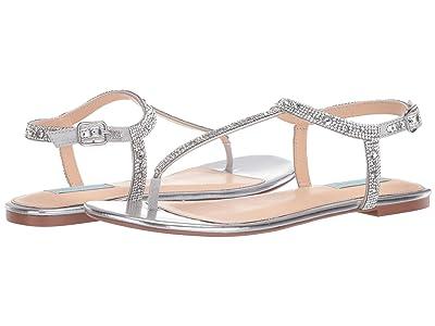 Blue by Betsey Johnson Lux Flat Sandal (Silver) Women