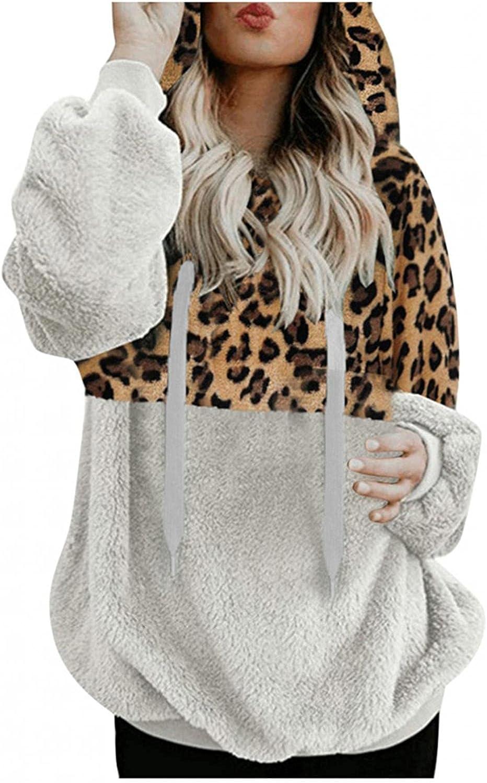 Fudule Sherpa Hoodies for Women Sexy Leopard Print Fleece Hoodies Warm Fuzzy Sherpa Pullover Sweater Fluffy Sweatshirts