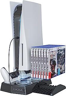 Skywin Suporte PS5 - Suporte De Resfriamento De Console Playstation 5 Compatível, Carregador De Controlador PS5 E Rack De ...