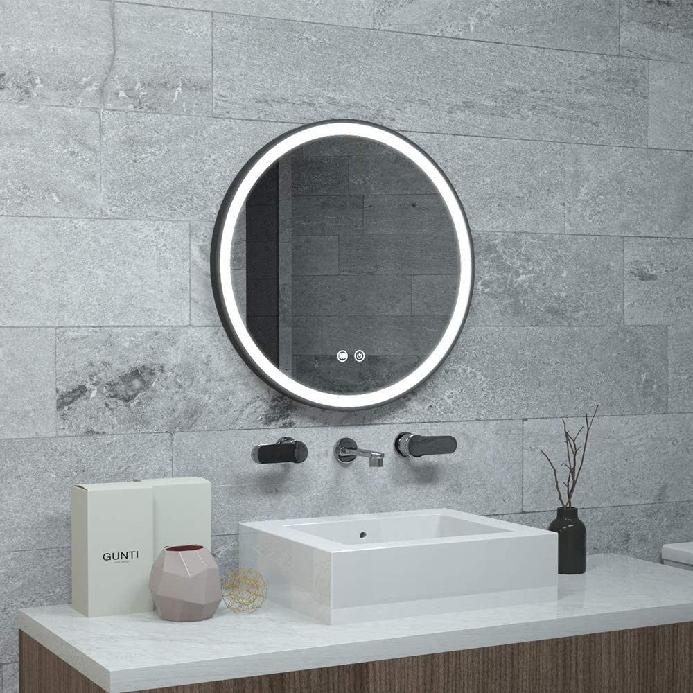 "KAASUNES 26"" LED Lighted Round Mirror Wall Mount Circle Illuminated Bathroom Vanity Mirror with Anti-Fog Demister Pad Built in Touch Switch"