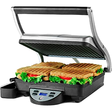 Ovente 4 Slice Electric Indoor Panini Press Grill with Non-Stick Double Flat Cast Iron Cooking Plates & Removable Drip Tray, Countertop Stainless Steel Sandwich Maker Bread Toaster, Silver GP1000BR