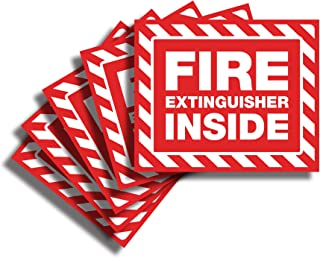 Fire Extinguisher Inside Sticker Sign - 5 Pack 5x4 Inch - Premium Self-Adhesive Vinyl, Laminated for Ultimate UV, Weather,...