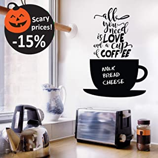 Halloween Chalkboard Coffee Wall Decals Quotes for Kitchen - Perfect Blackboard Coffee Lovers Gift Stickers - Best Fridge Cup Vinyl Art with Bonus!