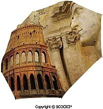 SCOCICI Custom Print Umbrella Compact Rain & Wind Umbrellas,Roman Glory Heritage Knight Fourth Variant Shield Legend Illustration 3 Folds Auto Open Close Umbrella