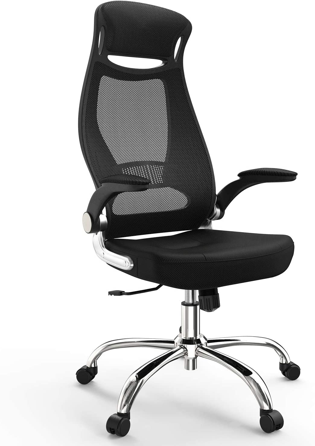 NATRKE High-Back Computer Mesh Office Chair, Swivel Ergonomic Task Chair with Adjustable Armrest, Desk Chair Home Office Chair, Executive Chair with Smooth Casters,Black