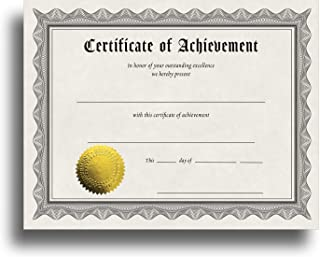 Certificate of Achievement Certificate Paper with Embossed Gold Foil Seals - 30 Pack - Parchment Award Certificates for Students, Teachers, Employees - 8.5