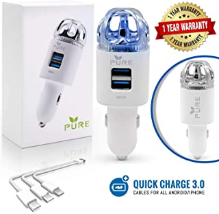 Car Air Purifier 3in1 Premium Stainless Steel Air Filter Ionizer w/Dual USB Quick Charge 3.0 USB-Eliminate Allergens Odor Smell, Smoke, Pets, Pollen Mold Bacteria w/Anti-Microbial Deodorizer (White)