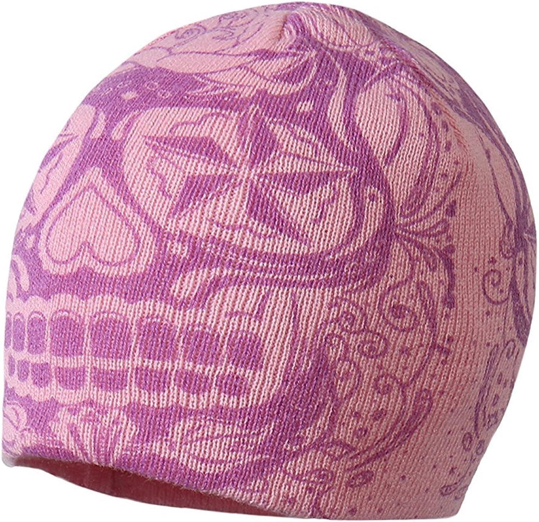 Hot Leathers Ladies Sugar Skull Knit Cap in Pink Purple