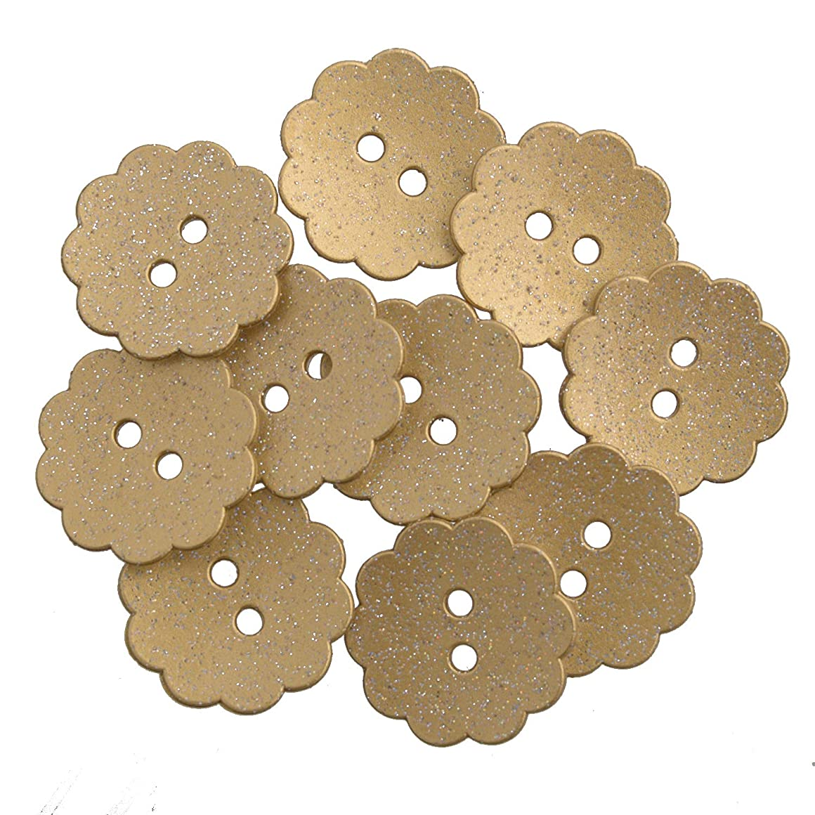 Nylon Resin - Daisy Shape - Festive Holiday Button - 28 Line - 2 Hole - Gold Glitter