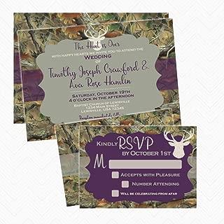 Camo Deer Antler Wedding Invitation Set with RSVP card | Envelopes Included