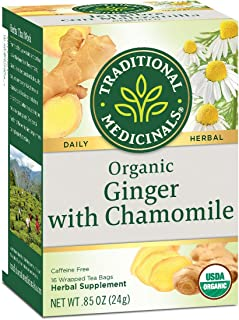 Traditional Medicinals Organic Tea Ginger with Chamomille 16 tea bags - 3PC