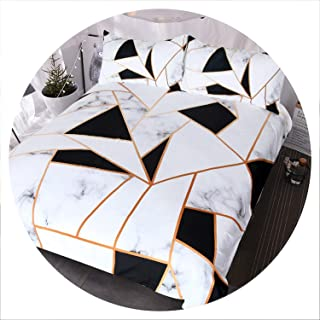 retro store Irregular Geometric Printed Bedding Set Black and White Duvet Cover Set Marble Texture Bed Cover Queen Bedspreads,Double 180cmx210cm