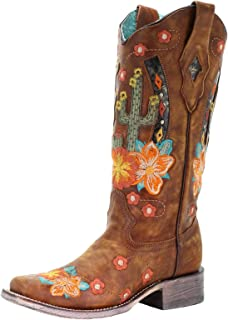 A3735 Honey Cactus Inlay and Embroidered Square Toe Boots