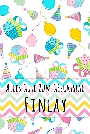 Alles Gute zum Geburtstag Finlay: Kariertes Notizbuch mit 5x5 Karomuster für deinen personalisierten Vornamen