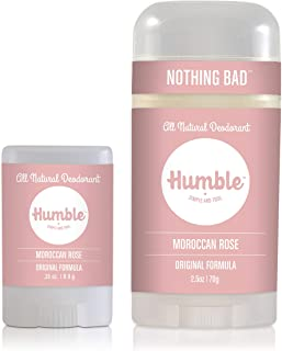 Humble Brands All Natural Deodorant Full and Travel Size (Moroccan Rose)