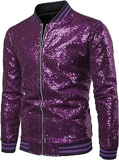 Sodossny-AU Men Classic Stand Collar Sequin Long Sleeve Flight Jacket Coat