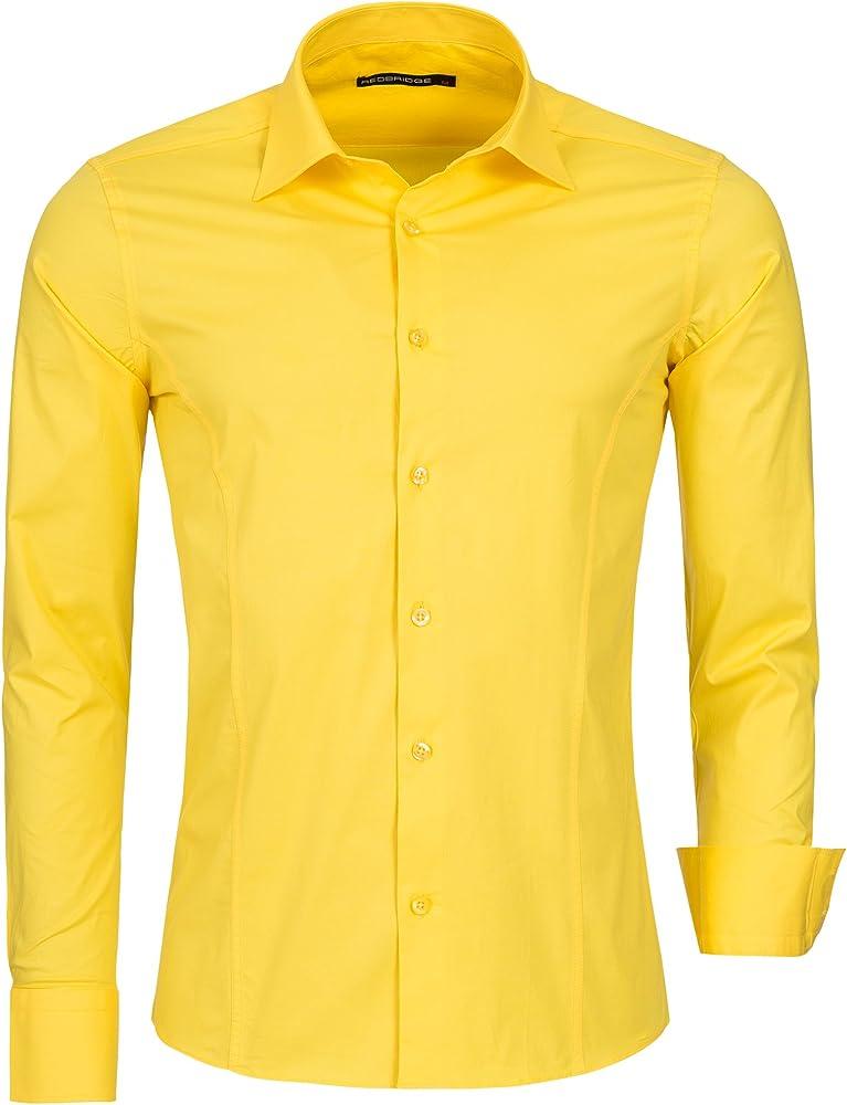 Redbridge, camicia per uomo, 97% cotone, 3% elastan, gialla R-2111T