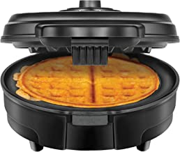Chefman Anti-Overflow Belgian Waffle Maker w/Shade Selector Temperature Control, Mess Free Moat, Round WaffleIron w/Nonstick Plates & Cool Touch Handle, Measuring Cup Included, Black