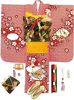 七五三 7歳 着物 フルセット 正絹 女の子 総絞り 刺繍入りの子供着物 結び帯セット「赤 花車」IYS910y805YY