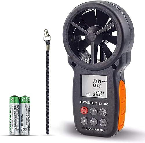 BTMETER Digital Anemometer Handheld BT-100 Wind Speed Meter Gauge Accurately Measure Wind Temperature Speed CFM with MAX MIN AVG Backlight LCD for Shooting HVAC Drone Flying