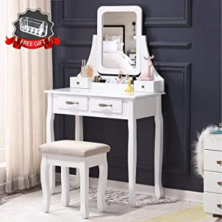 Solid Rubber Wood Dressing Table Vlush Vanity Makeup Table with Flip Top Mirror