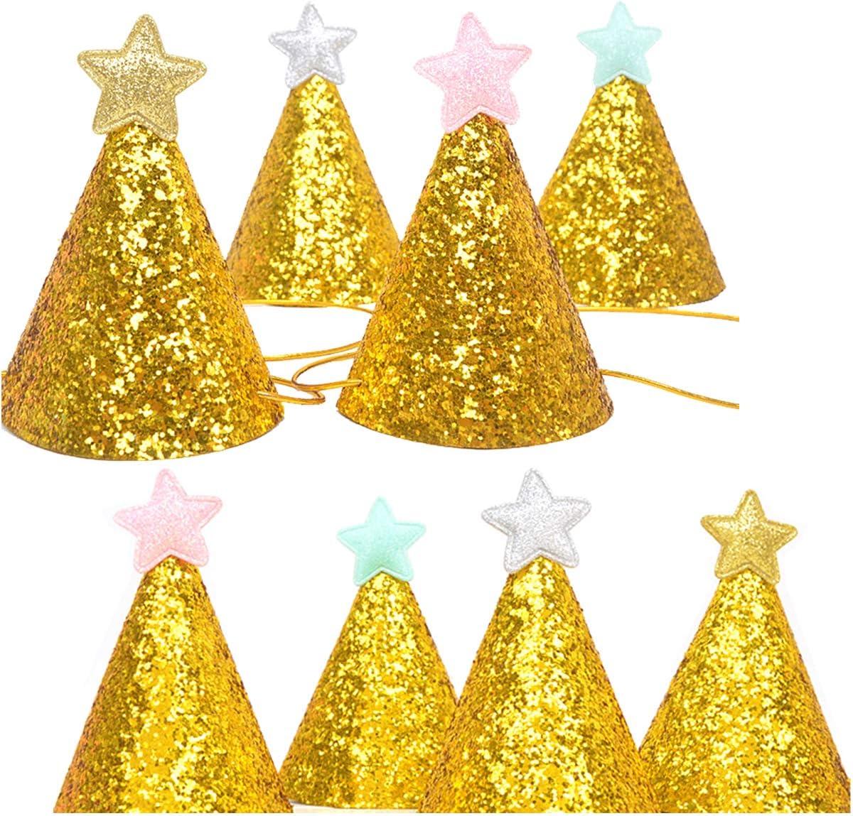 Liwein Sombrero de Fiesta de Cumpleaños Gorros de Fiesta Paño de Oro Brillo Sombreros del Cono para Niños Adultos Perro Mascotas Decoración de Celebración de Cumpleaños-8 Piezas