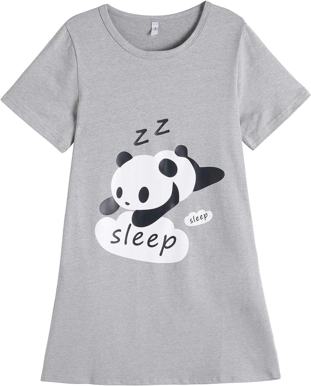 Vopmocld Big Girls Summer Lovely Nightgowns Cute Panda Leopard Cat Sleepwears Funny Sleep Dress