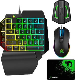 メカニカル式、専用コンバーター付き、片手キーボードマウスセット 、RGB ゲーミング キーボード マウス セット、USB有線 、アダプター レインボーバックライト、5マルチメディアファンクションキー、ポータブルミニシングルゲーマーキーパッド、...