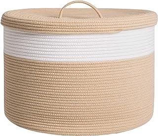 Natural//Candy Stripe Grey Laundry Basket MINTWOOD Design Extra Large 17 x 17 x 15 Decorative Woven Cotton Rope Basket Blanket Basket Baby /& Dog Toy Storage Baskets /& Bin Kids Laundry Hamper