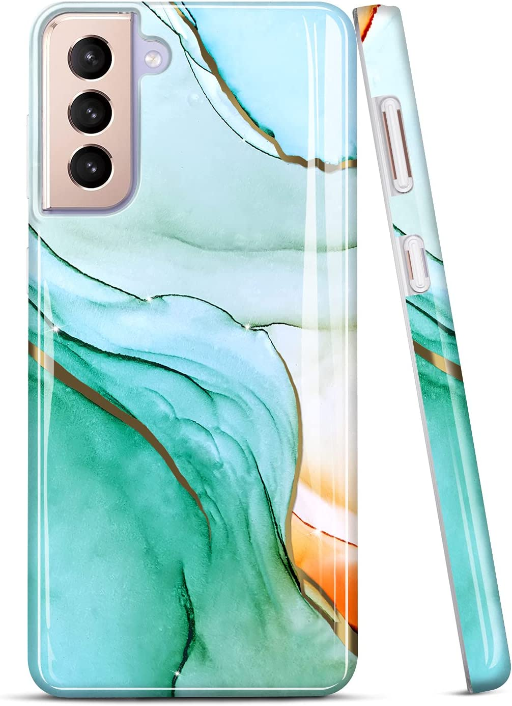 JIAXIUFEN Galaxy S21 Case Gold Electroplated Glitter Marble Slim Shockproof TPU Soft Rubber Silicone Cover Phone Case for Samsung Galaxy S21 5G 6.2 inch 2021 Green Gold